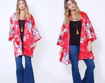 Vintage 80s JAPANESE Kimono Red ASIAN Robe Draped Duster Ethnic Boho Jacket PEACOCK Print Kimono