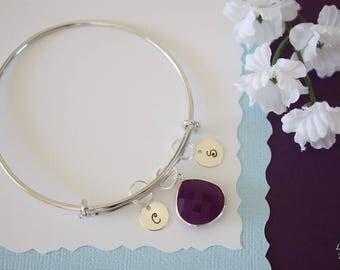 Mom Bangle Bracelet Silver, Initial Bangle, Expandable, Sterling Silver, Nana Bracelet, Mommy Charm, Friendship, Monogram, BFF, Purple