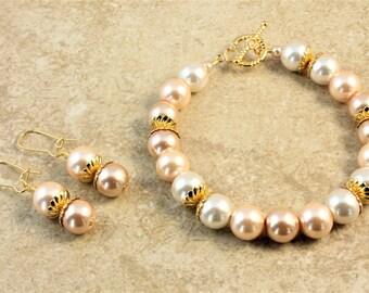 Neutral Gold Glass Pearl Wedding Bracelet and Earrings Set Bridal Bridesmaid Bride