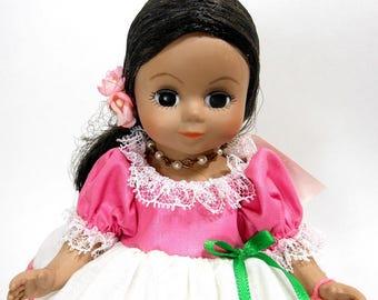 1992 Vintage Madame Alexander Doll / International Miss Chile Vinyl Doll / Pink White Eyelet Ribbon Trim Doll Dress / Doll Necklace & Stand