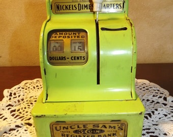 Mid Century Uncle Sam's Cash Register Bank Lime Green