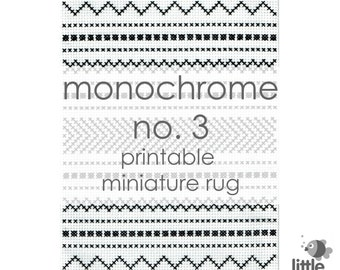 "Printable ""Monochrome No. 3"" Miniature Floor Rug - modern miniature for dollhouse / instant digital download of original cross stitch rug"