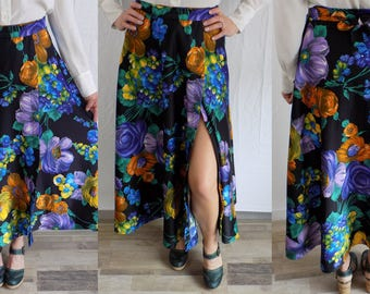 Vintage Style Rite 70's boho hippie Circle Maxi Wrap Skirt Floral Hawaiian Multi Color sz S/M