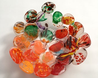 Red Orange Green Optic POD Bowl - Recycled Fused Glass