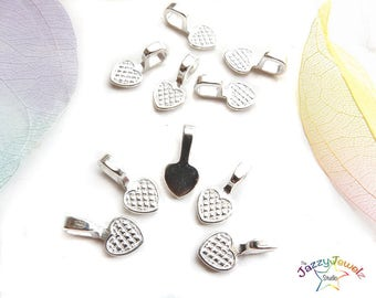 Glue-on Flat Pad Bails, 5 pcs, Heart Shaped Pendant Bails, Silver tone bails, jewellery bails, craft supplies, UK