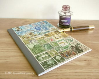 Upcycled Postage Stamp Notebook, A5 Travel Journal | World Stamp Collage, Eclectic Travel Gift | Ruled 6 x 8 Writing Book, Recycled Paper