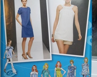 Misses' Project Runway Dress Pattern Simplicity 2922 Dress or Tunic with Sleeves Variations, Pockets Plus Size 12 - 20 High Fashion, Destash