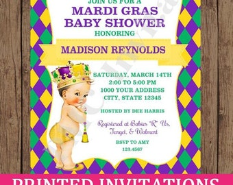 Custom Printed Vintage Antique Mardi Gras Baby Shower Invitations - Select skin/hair color -  1.00 each with envelope