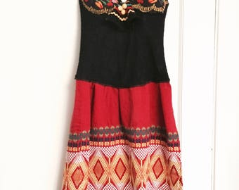 Fiesta mexican inspired corset dress all vintage materials medium red black dress
