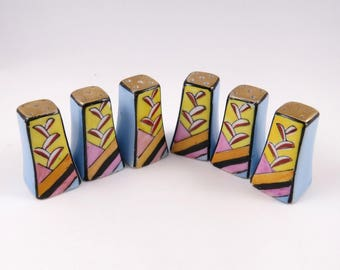 Small Deco Shakers, Individual Salt and Peppers, Porcelain, 3 SETS,  Made in Japan, Blue and Yellow Abstract Design, S & P