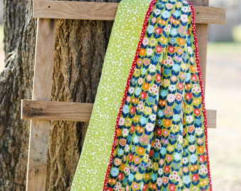 Modern Whole Cloth Quilt Toddler Baby Flowers