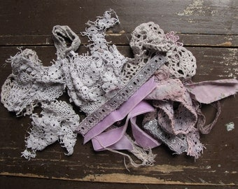 vintage fabric textile kit - ooak antique and hand dyed rags - frozen lilac