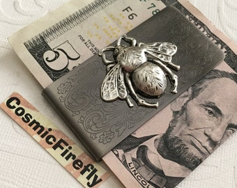 Antiued Silver Bee Money Clip Steampunk Money Clip Gothic Victorian Bee Vintage Inspired Men's Accessories Men's Gifts