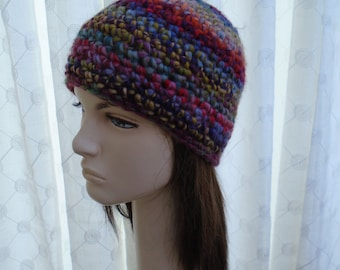 recycled RAINBOW crochet beanie cap soft acrylic bright swirls of colour