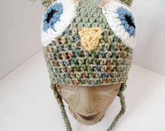 Owl Hat, Little Hoot, Adult Size, Dusty Greens, Fall colored owl hat, Beanie Owl