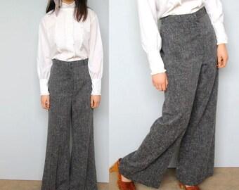 annie holiday -- vintage 70s wool blend wide leg pants M/L