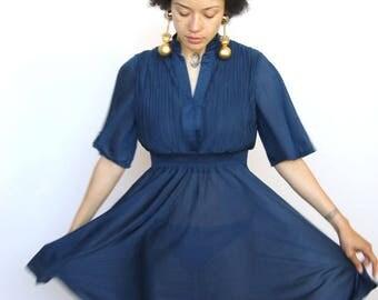 va va voom -- vintage 1970s sheer navy blue goddess dress S/M