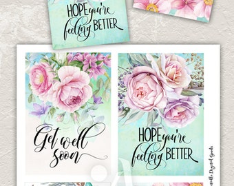 """Printable GET WELL CARDS No.2 digital download 3.5""""x5"""" size images, hand-painted flowers, typography art, print-it-yourself designed cards"""