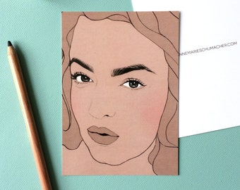 Tess Holliday - Postcard // female pencil portrait, eyebrow game strong, plus size beauty, celebrate curvy women