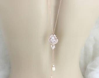 Simple Backdrop necklace, Bridal back drop necklace, Wedding jewelry, Bridal Back necklace, Crystal necklace, Delicate backdrop, EMMA