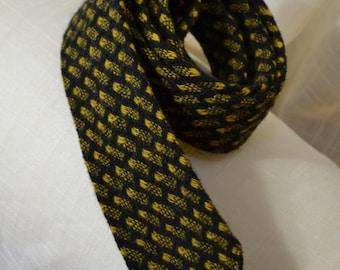 Skinny Wool Necktie Gold n Black 60s Tie