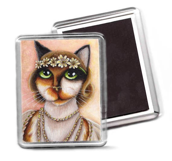 Calico Cat Magnet, Daisy Buchanan, Refrigerator Magnet, Great Gatsby Cat Art