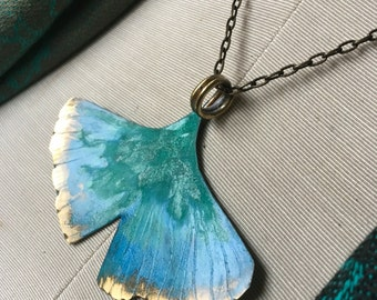"""XL Ginkgo pendant on 24"""" antiqueed Brass chain - hand forged bronze, patina - aqua"""