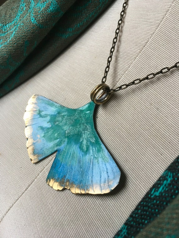 "XL Ginkgo pendant on 24"" antiqueed Brass chain - hand forged bronze, patina - aqua"