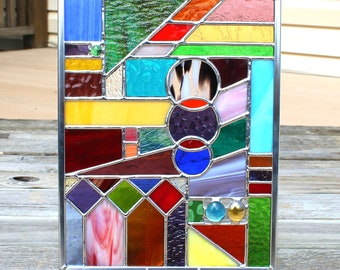 Multicolored Geometric Stained Glass Panel
