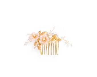 BLUSHING | gold bridal comb with blush flowers, blush bridal comb, gold bridal hair piece