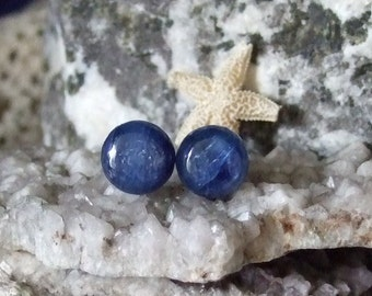 10mm Blue Kyanite Titanium Studs Earrings Earings Hypo Allergenic Made in Newfoundland Throat Chakra
