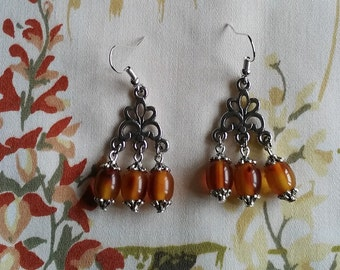 Bakelite Chandelier Earrings - Amber 2