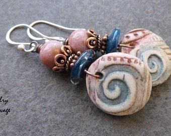 Boho Chic Swirl Design Polymer Clay Glass and Ceramic Earrings, Mauve Blue Copper and Swirl Design Charms with Glass