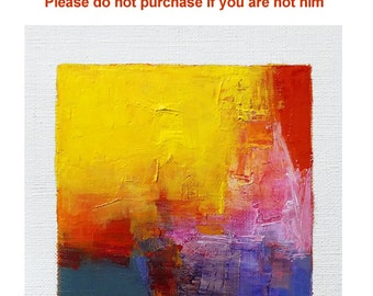 Reserved listing - Feb. 26, 2017 - Original Abstract Oil Painting - 9x9 painting (9 x 9 cm - app. 4 x 4 inch) with 8 x 10 inch mat