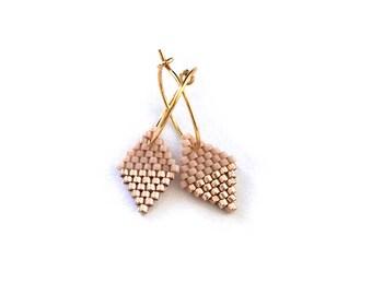 Earrings - Diamond Drops - Light Rose and Gold
