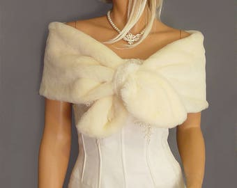 Faux Fur wrap stole pull thru shrug In Beaver bridal shawl wedding capelet bridesmaid cover up FW300 AVL in ivory and 4 other colors