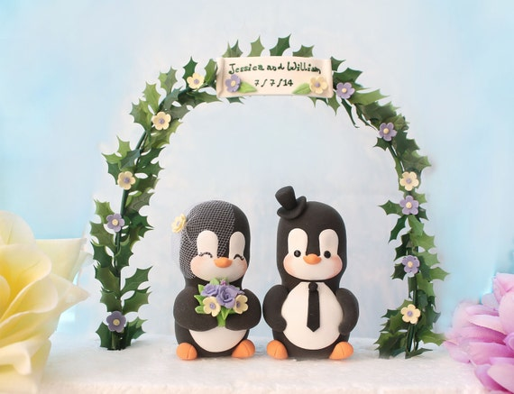 Custom wedding cake toppers - rustic country garden black and white cute personalized elegant purple cream ivory wedding gift - with ARCH
