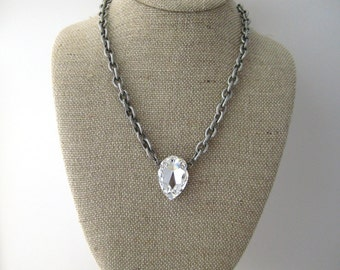 Swarovski Clear Crystal Large Pear Chunky Chain Necklace, 30x20mm Pear, Bold Jewelry, Chunky Chain Necklaces,For Her