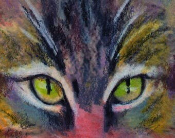 original art  aceo drawing colorful tabby cat
