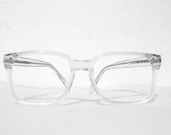 Vintage NOS Crystal Clear Wayfarer Eyeglass Frames. Geek Chic Sunglasses. Clear. Mod. USA Designer Tart.