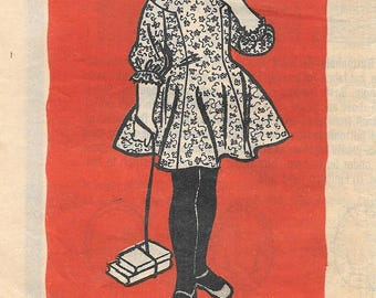 Marian Martin 9256 1950s Girls Tweens Dress with Rounded Collar Vintage Sewing Pattern Size 10 Breast 28 Flared Skirt
