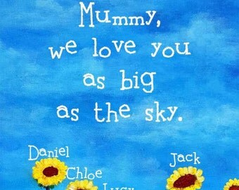 Mother's Day Gift Personalised with Names Sunflowers Print