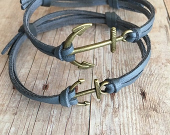 Anchor bracelet set His and Her matching bracelets Couples jewelry Leather bracelet set Couples bracelets Couples gift Jewelry Nautical