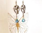 hummingbird earrings, blue crystal earrings, hummingbird jewelry, blue aqua drop earrings