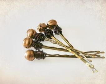 "Beaded ""Vintage Bronze"" Bobby Pins. Beaded Hair Pins. Hair Bling. Boho Hairpins."