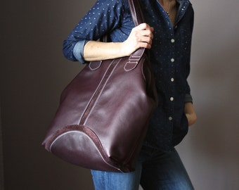 Plum Leather Shopper, Leather Tote Bag, Soft Leather Bag, Yummy Plummy Leather Bag, Leather Shopper, Leather Bag, Leather Handbag, Plum Tote