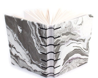 Black and White Marbled Paper Journal - handmade by Ruth Bleakley