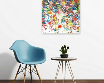 Original Abstract Expressionist Painting, 18x24 Acrylic on Canvas Wall Art, Modern Home Decor, red yellow white blue, Jessica Torrant