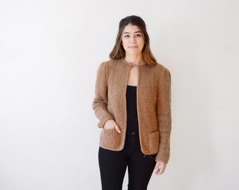1970s Brown Nubby Knit Jacket / 70s Cardigan - S/M