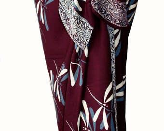Dragonfly Sarong Womens Clothing - Burgundy Beach Sarong Wrap Skirt - Dragonfly Sarong Cover Up - Batik Pareo - Gift for Her